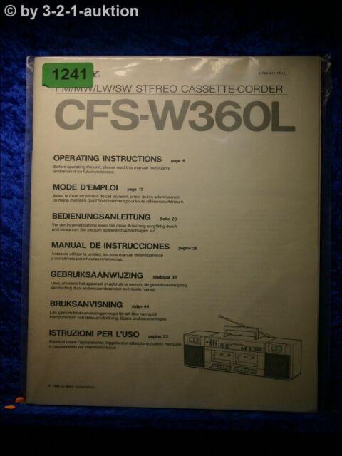 Sony Manual Cfs W360l Cassette Corder   1241