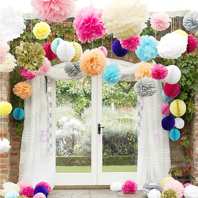 "10pcs 6"" 8"" 10"" 12"" 15"" Tissue Paper Pom Flowers Balls Wedding Party Decor new"