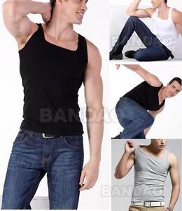 Square-Neck-Sleeveless-Men-039-s-stretch-vest-Shirts-Slim-Tank-Tops-Cotton-T-Shirt