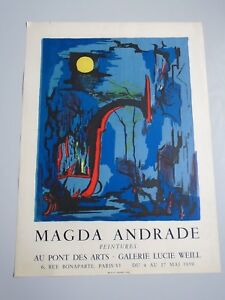 AFFICHE-MAGDA-ANDRANDE-GALERIE-LUCIE-WEILL-1959-LITHOGRAPHIE-50X67cm