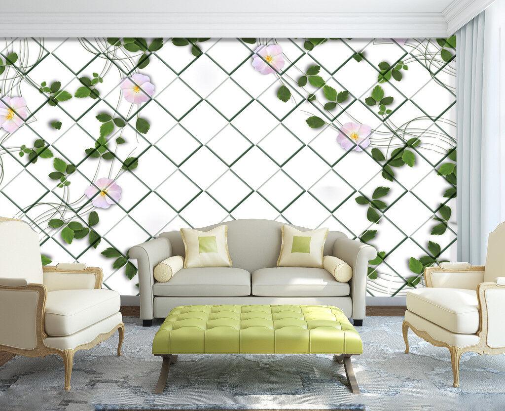 3D greene Blätter bluem Fototapeten Wandbild Fototapete Bild Tapete Familie Kinder