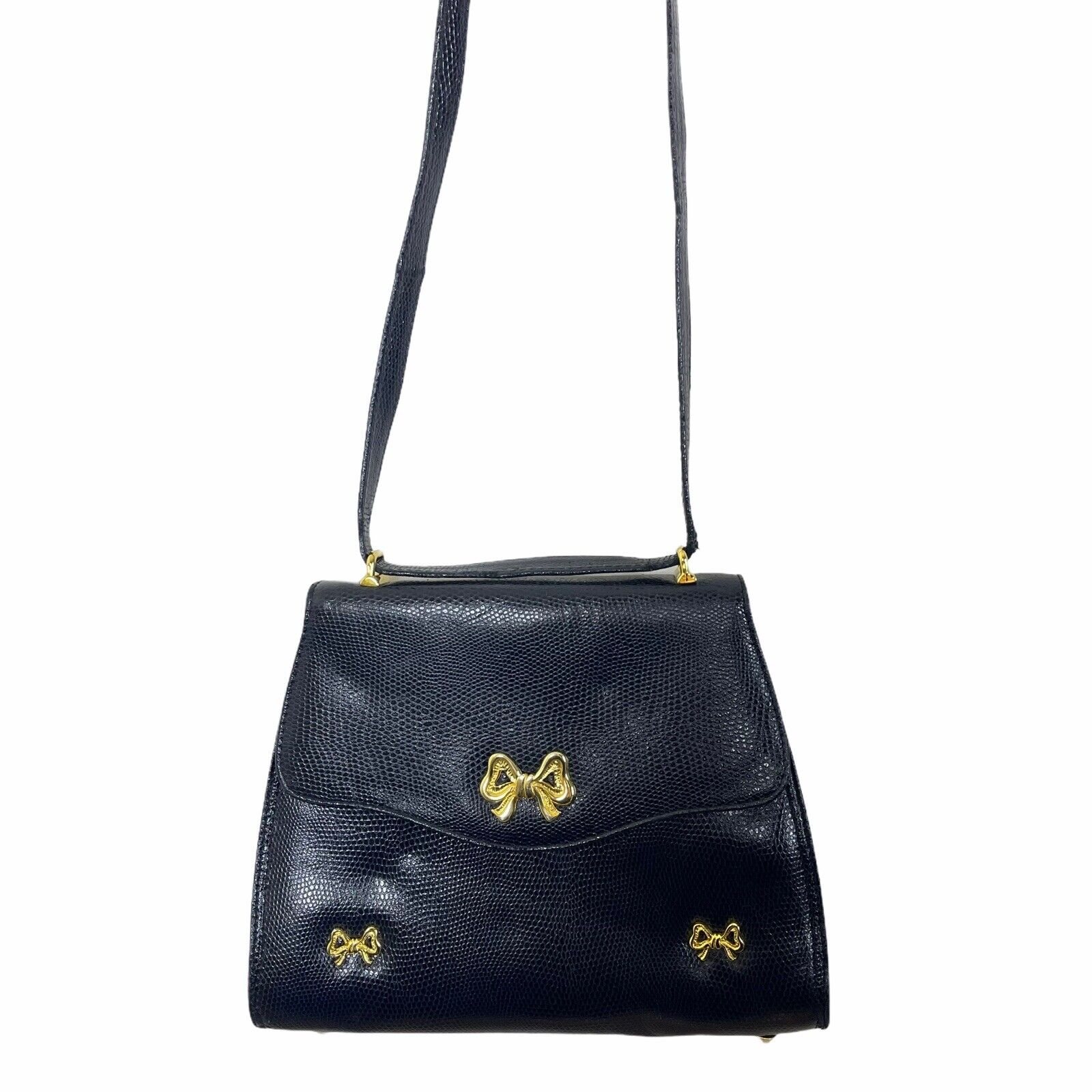 ARNOLD SCAASI NAVY LIZARD LEATHER WITH BOWS WOMEN… - image 7