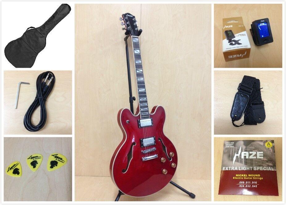 4/4 Haze 272 Semi-Hollow body electric guitar,Cherry guitar,Cherry guitar,Cherry ROT+Free Bag,Strap,Strings bc8939