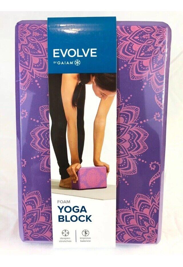 EVOLVE BY GAIAM FOAM YOGA BLOCK FASHION PURPLE PINK 9″ X 6″ X 4″ DEEPEN STRETCH