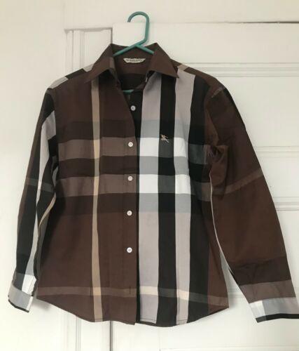 Burberry Long Sleeve Plaid Brown Women Shirt sz