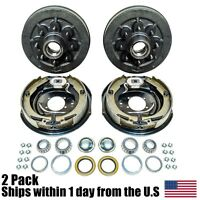 (2) 12 X 2 Trailer Brake Hub Drum Kit 6.5 For 7000 Lbs Axle 22004k on Sale