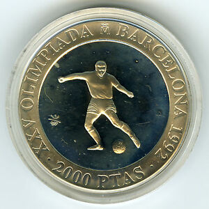 # SPAIN 1990 ☆ SILVER 2000 PTS • BARCELONA'92 OLYMPICS • SOCCER • PROOF ☆ ☆C3502