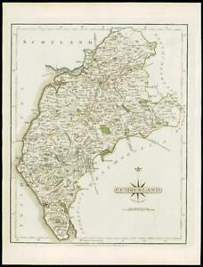 Fine Antique County Map Of Cumberland By John Cary Original Outline Colour 1793 Art Art Prints