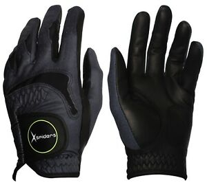 Men-039-s-Golf-glove-BLACK-color-Pick-size-Sheepskin-amp-Microfiber-fabric-Durable-B6