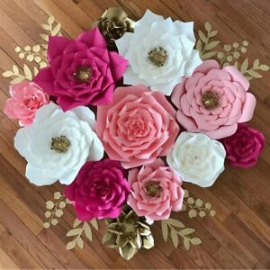 Pre Made Rose Paper Flowers Wedding Party Backdrop Wall Wedding