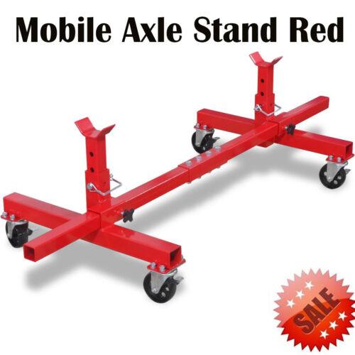 Mobile Axle Jack Stand Car Van Caravan Vehicle Garage Tool Adjustable Steel Sill