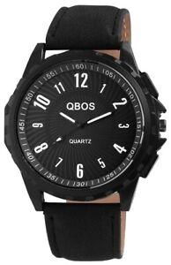Qbos-Herrenuhr-Schwarz-Analog-Metall-Kunst-Leder-Quarz-Armbanduhr-X2900046001