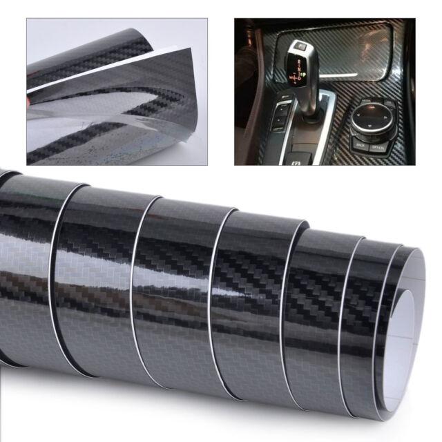 152x30cm 5D Carbon Fiber Gloss Black Car Door Laptop Wrap Sticker Film Decal DIY