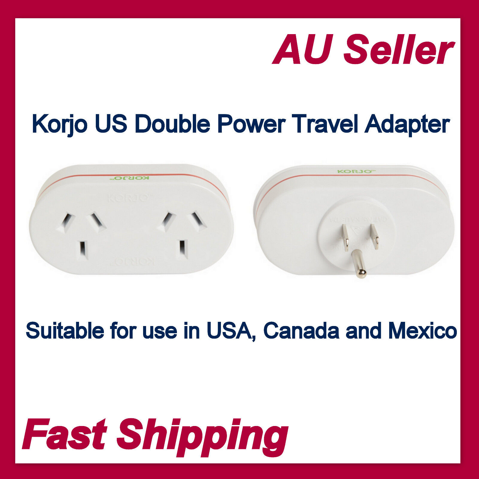New Korjo Power Plug Adapter Adaptor For US//Canada//Mexico From AU AUS /&NZ to USA