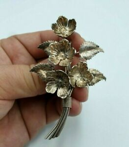 Antique-Solid-Silver-Charles-Horner-Flower-amp-Leaf-Design-Brooch-Chester-1941