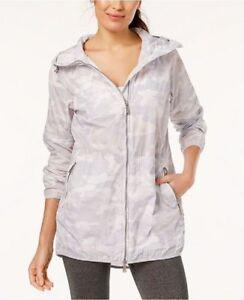 Jacket-Calvin-Klein-NWT-129-Medium-White-Camo-Packable-Hood-Zip-Raincoat-New