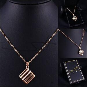 Schmuck-Geschenk-Kette-Halskette-Gitter-Damen-Rosegold-pl-Etui-original