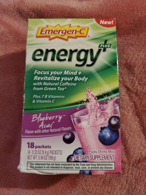 Emergen-C Energy Plus Blueberry-Acai (18 packets) ● EXP: 1/21 ●