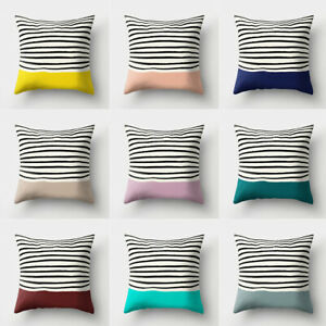 Am-Square-Stripes-Polyester-Peach-Skin-Pillow-Cover-Cushion-Case-Soft-Sofa-Deco