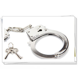 1-x-Police-Handcuffs-Silver-STEEL-Double-Lock-REAL-Hand-Cuffs-2-Keys-Authentic