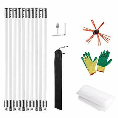 Nylon Chimney Brush+Rods Kit Electrical Rotary Drill Drive Sweeping Cleaning-USA