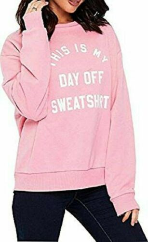 "Womens Ladies /""This Is My Day Off/"" Slogan OverSize Sweatshirt Jumper Top Sweater"