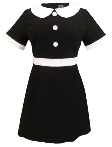 Ladies 60s Retro Mod Vintage Black Dress