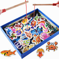 USA Baby Educational Toys Fish Wooden Magnetic Fishing Set Game Kids Gifts 32Pcs