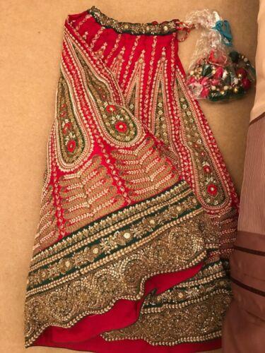 lavoro manuale Georgette Beautiful Wedding Bridal Lengha Indiano Pure Rwz6qYxn0U