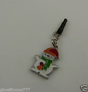 smiling-Snowman-cute-charm-cell-phone-or-charm-ear-cap-dust-plug