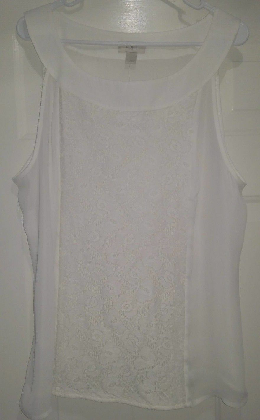 Ann Taylor Loft NWT Womens Off White w  Floral Lace Sleeveless Shirt Top Size XL