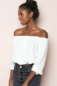 2fbc5eab4dc15 Image is loading Brandy-Melville-White-Cropped-Off-shoulder-Ruffle-Trimmed-