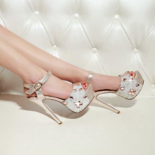 zapatos tacones plataforma tiras tacones mujer altos Nueva con sandalias tobillo Rhinestones 7fqCxvZtw