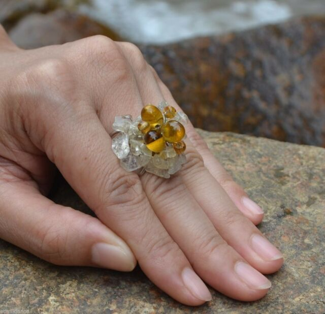 Handmade Thailand Ring BROWN CLEAR Stone FAIRTRADE Jewelry woven Adjustable