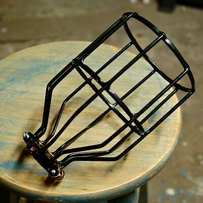 Black Bulb Guard, Clamp On Metal Lamp Cage For Vintage Trouble Light Industrial