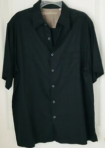 Caribbean-Mens-L-Black-Silk-and-cotton-Wood-Button-Up-Short-Sleeve-Front-Pocket