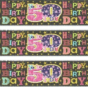 Age 50th birthday banner foil pink black se 5050933032109 ebay image is loading age 50th birthday banner foil pink black se publicscrutiny Images