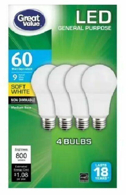4 Pack LED Soft White 9 watt 60 w Equiv Light Bulbs 800 Lume