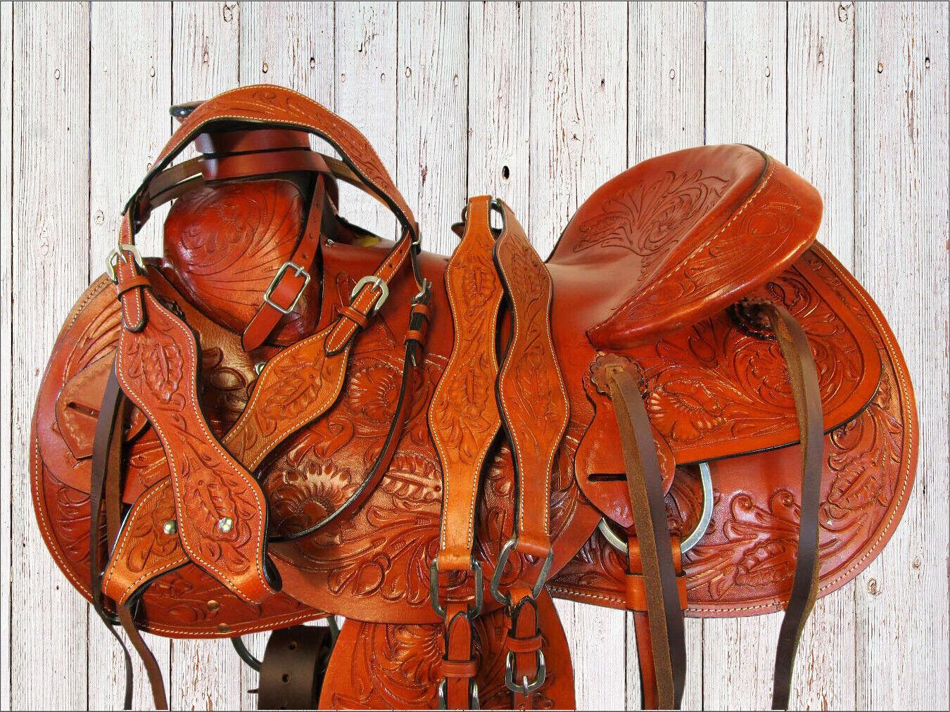 Cuero fileteado placer Trail Real Ranch trabajo amarrar silla caballo occidental 16 17