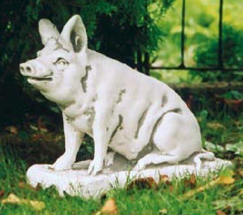 Schwein sitzend (S148) Gartendeko Tierfiguren Steinguss Deko Steinfigur 40 cm