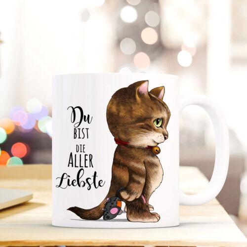 """Tasse Becher Katze /& Spruch /""""Du bist die aller Liebste/"""" Kaffeebecher Zitat ts582"""
