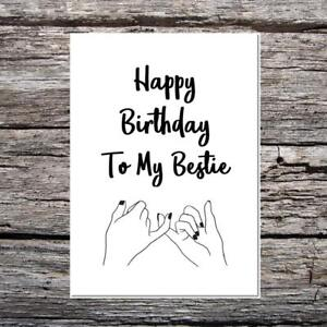 funny happy birthday card curly script font my bestie best friend
