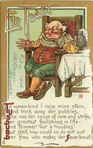 Artist impression C1910 Vimmins fair drinking Saying German Humor Tuck 233