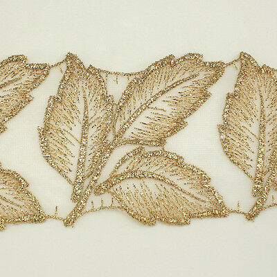 "3.0"" Leaf Metallic Rayon Embroidery Scalloped Lace Trim Bridal wedding Lace"