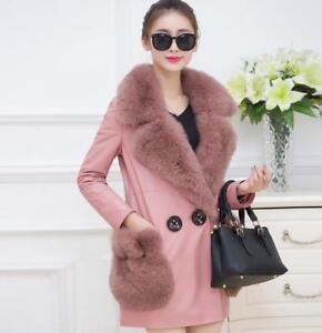épaissir d'hiver cuir pour de femmes fourrure fourrure de en PU trench Parka Manteau col EUxPqXfwq