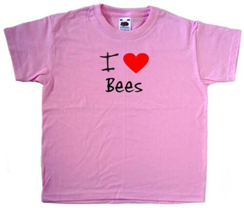 I Love Heart Bees Pink Kids T-Shirt