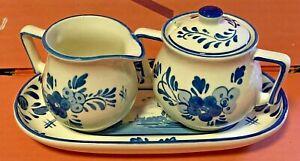 Porcelain-Delft-Blue-Sugar-amp-Creamer-Set-w-Tray-Hand-Painted-Holland-Vintage