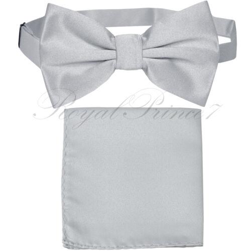 New Silver Gray Men/'s pre tied Bow tie /& Pocket Square Hankie set