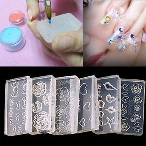 6pcs reusable 3d acrylic mold for nail art diy decor for 3d acrylic nail art mold diy decoration