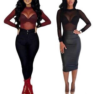 Women-Sheer-Mesh-Fish-Net-Long-Sleeve-Turtle-Neck-See-Crop-Top-T-Shirt-Blouse